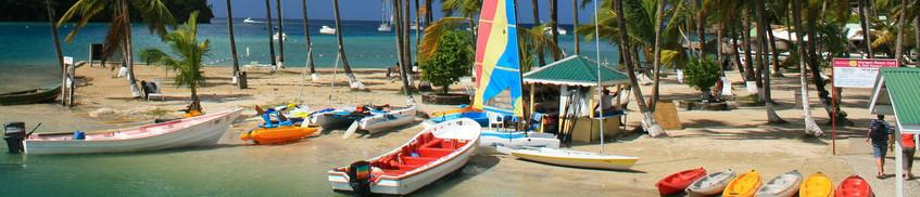 Segeln St. Lucia: Segelboote unter Palmen